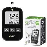 adia Blutzuckermessgerät (mg/dl) inkl. 10 Teststreifen für Diabetiker zur Selbstkontrolle des Blutzuckers bei Diab