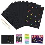 Kratzbilder Set für Kinder,JBSON 50 Große Blätter Regenbogen Kratzpapier zum Zeichnen und Basteln mit Schablonen, H