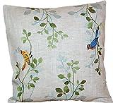 tischdecken-iris-shop Kissenhüllen Kissen Dekokissen 40x40 cm Natur Landhaus romantisch Vogel blau bunt gestickt Kissenbezug Leinenoptik