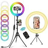 12 Zoll RGB Selfie Ringlicht mit Fernbedienung 148cm Stativ & Handyhalter AILUKI LED Ringleuchte Dimmbarer Kreislichtring für Make-up/Live-Stream/YouTube/Tiktok/Vlog/Fotografie für iPhone/Android