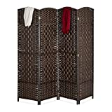 Relaxdays Paravent Raumteiler, HxB: 170x160 cm, Faltbarer Raumtrenner, 4-teiliger Sichtschutz, Holz & Papierseil, braun