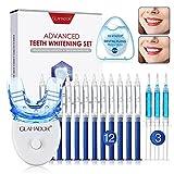Teeth Whitening Kit, GLAMADOR Wiederverwendbares Zahnaufhellung Set, 12 Zahnaufhellungsgel, 3 Beruhigendes Gel, 1 Zahnseide 50m, 1 Mundschale, gegen gelbe Zähne