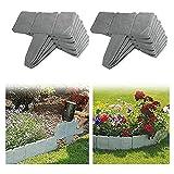 Lalagou Rasenkante in Steinoptik, Rasenkanten aus Kunststoff, Gartenzaun, für Garten und Rasen (20 Stück, Grau).