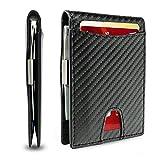 BHSHOH klammer Kartenetui für Herren, schmal, minimalistisch, für 8 Karten, 8,1 x 10,9 cm, Vordertasche, RFID-blockierend, mit Geschenkbox