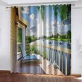 fgjorics Raumbalkon Tier Wasserdicht Und Schimmelresistent Polyester Vorhang Farbe 3D Dekorativen Vorhang (2 Paneele) 200(H) X130(W) Cmx2