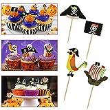 TANCUDER 48 Stücke Pirate Kuchen Topper Umweltfreundliche Halloween Cupcake Toppers 4 Muster Cupcake Picks Deko Flaggen Kuchen Topper Piraten Kuchendekoration für Geburtstag, Hochzeit, Halloween Party