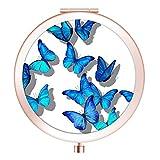 Imiao Make-up-Spiegel, Roségold, kompakter Spiegel, tragbarer Handspiegel, runder Mini-Taschenspiegel mit 2 x 1 x Vergrößerung für Frauen, Mutter, Mädchen, tolles Geschenk (blauer Schmetterling)