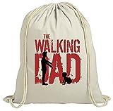 Shirt Happenz The Walking Dad #6 Premium Turnbeutel | Daddy | Papa | Zombie | Unisex | Gymbag, Farbe:Natur (Gymbeutel);Größe:37cm x 46 cm