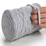 MeriWoolArt Baumwollgarn für Stricken, Makramee, Häkeln, Weben, Geschenkband für Weihnachten - 10 mm, 150 m T-Shirt Garn - Neue Qualität (Asche)