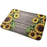 N\A Sonnenblumen Holzplatte gedruckt Willkommen Türmatte Indoor Outdoor Eingang Teppich Fußmatten Schuhschaber Matte für Küche Badezimmerbö
