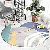 AKEFG Moderner Lammwolle Wohnzimmer Teppich, Super Soft, Kunstfell, Verdickt und fusselfrei, 100 cm Rund
