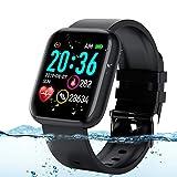 Adhope Smartwatch für Herren Damen Sportuhr Fitness Armbanduhr Bluetooth 1.3 Zoll Voll Touchscreen Smartwatch Wasserdicht mit Pulsmesser Schlafmonitor Blutdruckmonitor Blutsauerstoff für iOS Android
