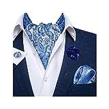 DiBanGu Ascot-Krawatten für Herren, Jacquard, Krawatte, Einstecktuch, Manschettenknöpfe, mit floralem Revers, 4 Stück - Blau - Einheitsgröß