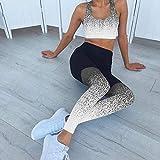 Leggings Damen Baumwolle,Gradientenfarbe Leggings Frauen Digitale gedruckte Yoga-Hosen-Dunkle Asche_L.