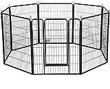 Dawoo Haustierzaun aus Metall, zusammenklappbar, 80 x 80 cm, Schwarz, 8 Teile