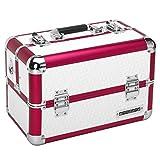 anndora Beauty Case Kosmetikkoffer Schminkkoffer Werkzeugkoffer - Rot Weiß Karo