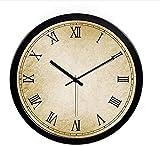 Wanduhr Europäische Metallwand hängende Uhr ruhige Retro Wanduhr Mode einfache Wohnzimmer Küche Restaurant Schlafzimmer Wanduhr, Silver, 35