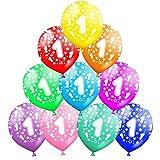 Funny House 30 Pcs Kunterbunte Luftballons 1 Jahre Metallic Deko zum 1. Geburtstag, 1. Jubiläum Hochzeit Party Kindergeburtstag Happy Birthday Dekoration