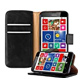 Cadorabo Hülle für Nokia Lumia 630 in Graphit SCHWARZ – Handyhülle mit Magnetverschluss, Standfunktion und Kartenfach – Case Cover Schutzhülle Etui Tasche Book Klapp Style