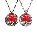 Halskette mit Anhänger, Ochsenmotiv, chinesisches Tierkreiszeichen für Liebhaber, Retro, Mond, Sterne, Schmuck