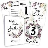 Meilensteinkarten Baby (42 Stück mit Box) Junge & Mädchen - Meilenstein Karten - Milestone Cards Geschenk zur Geburt - Geschenke Schwangerschaft & Babyparty - Fotokarten Babykarten - Floral