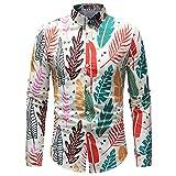 WAQD Herren Hemd Langarm Casual Shirts Slim Fit Freizeitkleidung Party Mode Shirt Tops Strandurlaub Klassisch Bequem Hemd Paisley Bedruckt Freizeithemd Langarmhemd Ausgefallene Blumenoberteile