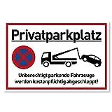 Privatparkplatz Schild Parken Verboten (30x20 cm Kunststoff) - Fahrzeuge Werden kostenpflichtig abgeschleppt - Klares Zeichen für Parkverbot - Parkplatz Schilder Privatgrundstück