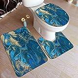 PANILUR Mode Badgarnitur Badematten Set 3,Blauer und Goldener flüssiger Marmor,teilig Badvorleger Badteppich WC Vorleger Badematte Duschvorleger