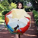 Enchain8 Reise-Regenschirm, 2019 niedliche Illustration Fox Girl Sonnenschirm Silberkleber Sonnenschutz UV-Schutz Regenschirm Sonne und Regen Regenschirm mit doppeltem Verwendungszweck