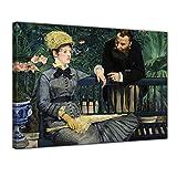 Bilderdepot24 Bild auf Leinwand | Édouard Manet Im Wintergarten in 80x60 cm als Wandbild | Wand-deko Dekoration Wohnung alte Meister | NEU-180204B-80x60-iw