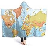 Weltkarte Hoodie Decke mit Kapuze tragbare Decke flauschig weich warm bequem für Erwachsene Männer Frauen Teenager Freunde 127 x 101 cm für Erwachsene