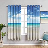 Nileco Undurchsichtiger Vorhangvorhang mit Ösen - Blau Meer Strand Landschaft - 264x210 cm - 2 Stück Verdunkelungsvorhänge, Thermovorhang für Kinderzimmer und Wohnzimmer, Vorhänge