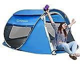 ZOMAKE Groß pop up Zelt 4 Personen,Schnellaufbauzelt Familie Outdoor Festival Zelt,Quechua Wurfzelt(Marineblau)