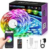 LED Strip 10m, LED Streifen Alexa mit Fernbedienung App Steuerung Farbwechsel Musiksync Selbstklebend RGB Lichterkette für Zimmer Küche Party TV Beleuchtung