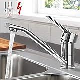 Niederdruck Küchenarmatur, WOOHSE 360° Drehbare Wasserhahn für Küche, Einhand-Spültischbatterie Messing Einhebelmischer Spültischarmatur für drucklose B