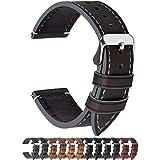 Fullmosa Ersatz Armbänder für Uhr in 6 Farben, Wax Series Echtes Leder Uhrenarmband 16mm/Watch Band für Damen&Herren,Kaffeebraun + Silber Schnalle