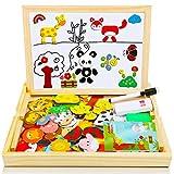 COOLJOY Neues Magnetisches Holzpuzzle mit Doppelseitiger Tafel, Holzspielzeug pädagogisches 100 Stück Lernspielzeug Staffelei Doodle für Kinder, 16 Cartoon-Tier-Rätsel