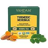 VAHDAM, BIO Kurkuma + Moringa SUPERFOOD Kräutertee, 30 Anzahl   Indiens alte Medizin-Mischung der Gelbwurz Garten-frischen Gewürze   Kurkuma Teebeutel   Moringa Tee   Entgiftungstee   Kräutertee
