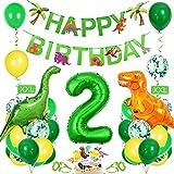Bluelves Luftballon 2. Geburtstag Grün, Dino 2 Deko Kindergeburtstag, Geburtstag 2 Jahr Junge, Dinosaurier Kindergeburtstag 2, Riesen Folienballon Zahl 2, Happy Birthday Girlande Ballon 2 Deko