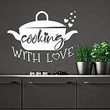 WERWN Kochen mit Liebe Wandtattoo Topf Küche Zitat Türen und Fenster Vinyl Aufkleber Restaurant Innen dekorative Kunst Schriftzug Tapete