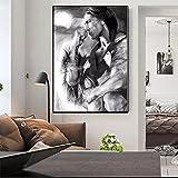 WACZJ Wandkunst Wanddekor Dekorative Malerei Decorative Nordische schwarz-weiße Indianerfiguren auf Leinwand Poster Poster und Drucke Wandbilder im Wohnzimmer Rahmenloses 50x70cm Geschenk