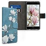 kwmobile Hülle kompatibel mit Huawei P8 Lite (2015) - Kunstleder Wallet Case mit Kartenfächern Stand Magnolien Taupe Weiß Blaug