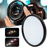 WIIBST Optische Glaslinsenfilter, 82 mm Blue Streak Filter mit Schutzfiltergehäuse und Wischtuch, Kaleidoskop Prisma Kamera Glasfilter