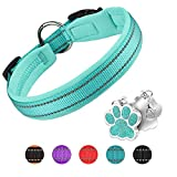 PcEoTllar Hundehalsband Verstellbare Weich Gepolstertes Neopren Nylon Hunde Halsband Reflektierend Halsband Atmungsaktives Einstellbar mit Erkennungsmarke for kleine mittel große Hunde - Blau-M