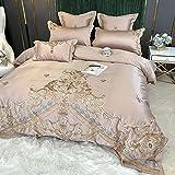 Bedding-LZ Baumwolle BettwäSche,Set Baumwoll-Vierteiliges Sommerbett Einzelne Stickerei-FrüHlings- Und Herbst-BettwäSche-V_1,8m Bett (4 StüCk) (20 SäTze Von 200x230 cm)