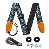 KQJ Gitarrengurt Vintage, Jacquard-Webart Guitar Strap für E-Gitarre, Akustikgitarre, Westerngitarre, Bass & Ukulele [Verstellbarer Gitarrenband für Kinder & Erwachsene]