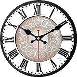 VIKMARI Quarz Wanduhr Holz Leise Hängende Uhr, Batteriebetriebene Runde Rustikale Uhr, Leicht Zu Lesen Vintage Innenwanduhr |Schwarz Und Weiß|14'
