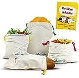 EcoYou® Obst & Gemüsebeutel aus Bio-Baumwolle I Wiederverwendbare Brotbeutel Aufbewahrung 4er Set INKL. plastikfrei Einkaufen Guide & Gewichtsangabe I Einkaufsnetze Gemü