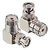 BOOBRIE 2 x L Form UHF zu BNC-Stecker männlich auf weiblich UHF BNC-Stecker BNC zu UHF Stecker Koaxial Adapter BNC Stecker auf SO239 Koaxialkabel 90 G