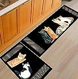 HLXX Cartoon-Druck Eingangstürmatte Teppich Schlafzimmer Küche Dekoration rutschfeste waschbare Teppichbodenmatte A5 40x60cm + 40x120cm